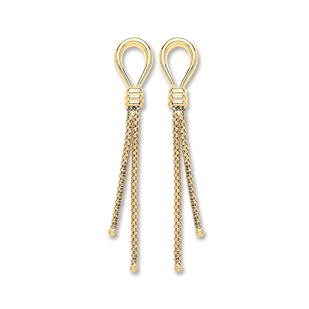 9ct Yellow Gold  Two Strand Hook Drop Earrings - Queen of Silver