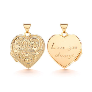 9ct Yellow Gold Heart Double Sided Locket (I love U & Design) Pendant - Queen of Silver