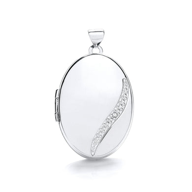 9ct  White Gold Oval Locket With Diamond Pendant - Queen of Silver