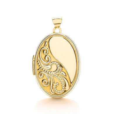 9ct Yellow Gold Oval Locket With Half Design Pendant - Queen of Silver