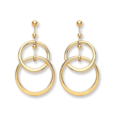 9ct Yellow Gold Two Circle Drop Earring - Queen of Silver