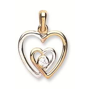 9ct Yellow & White Gold Double Love Cz Heart Pendant - Queen of Silver