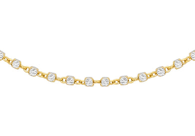9ct Yellow And White Gold Diamond Cut Cube Chain