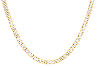 9ct Yellow and White Gold 100pg Curb Chain 41cm/16