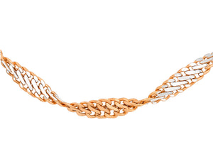 9ct Rose and White Gold Twist Curb Chain