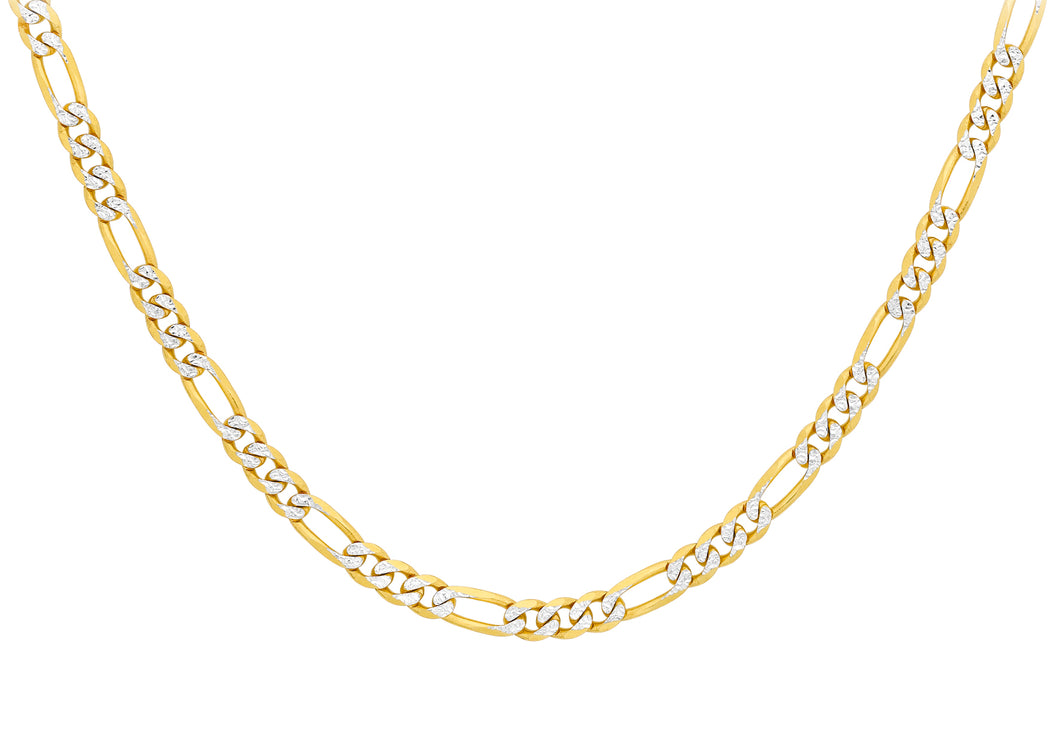 9ct Yallow and White Gold Figaro Chain