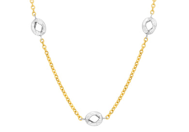 9ct Yallow and White Gold Diamond Cut Curb Belcher Chain 51cm/20