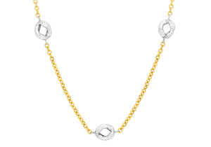 9ct Yallow and White Gold Diamond Cut Curb Belcher Chain 51cm/20""