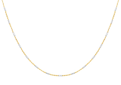 9ct Yallow and White Gold Diamond Cut Bar and Rope Chain