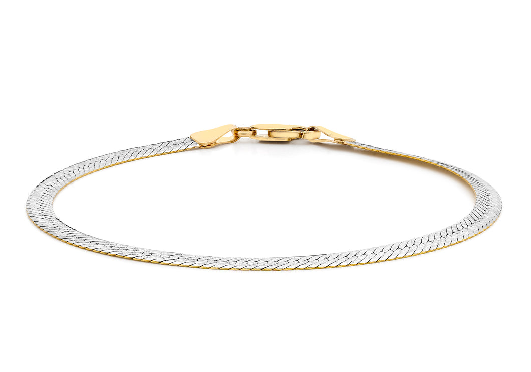 9ct 2-Colour Gold Textured Bracelet 19cm/7.5