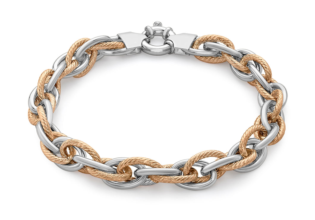 9ct 2-Colour Gold Twist Detail Large Link Bracelet 19cm/7.5