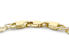 9ct 2-Colour Gold Diamond Cut Double Curb Bracelet 18cm/7""