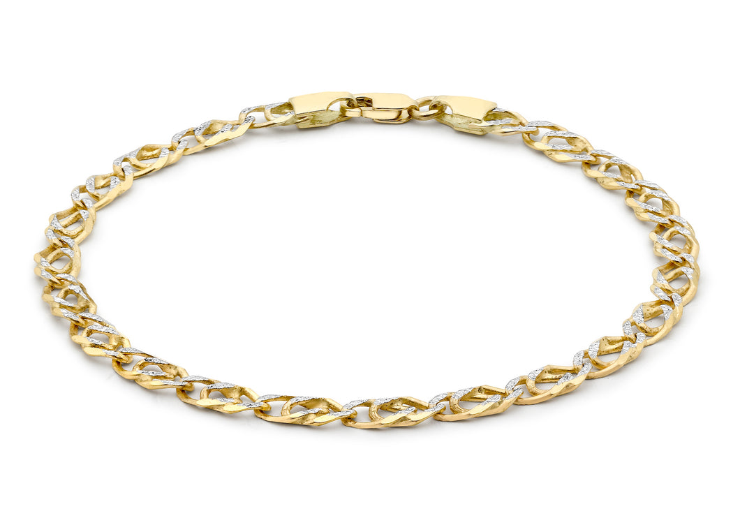 9ct 2-Colour Gold Diamond Cut Double Curb Bracelet 18cm/7