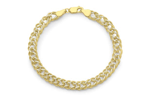 9ct 2-Tone Diamond Cut Double Curb Chain Bracelet 20cm/8""