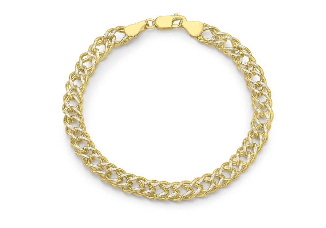 9ct 2-Tone Diamond Cut Double Curb Chain Bracelet 20cm/8