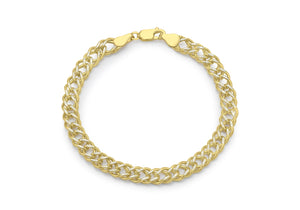 9ct 2-Tone Diamond Cut Double Curb Chain Bracelet 8""