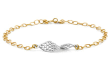 9ct 2-Colour Gold Diamond Cut Basket Belcher Bracelet 19cm/7.5""