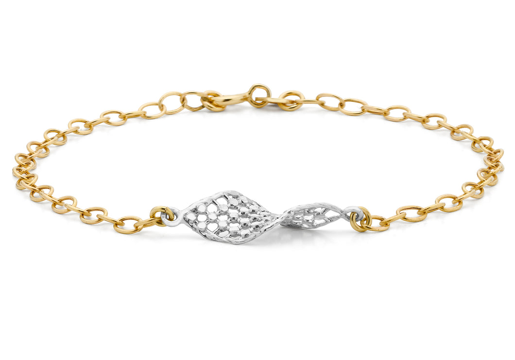 9ct 2-Colour Gold Diamond Cut Basket Belcher Bracelet 19cm/7.5