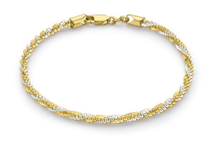9ct 2-Colour Gold Twist Bracelet 18.5cm/7.25""