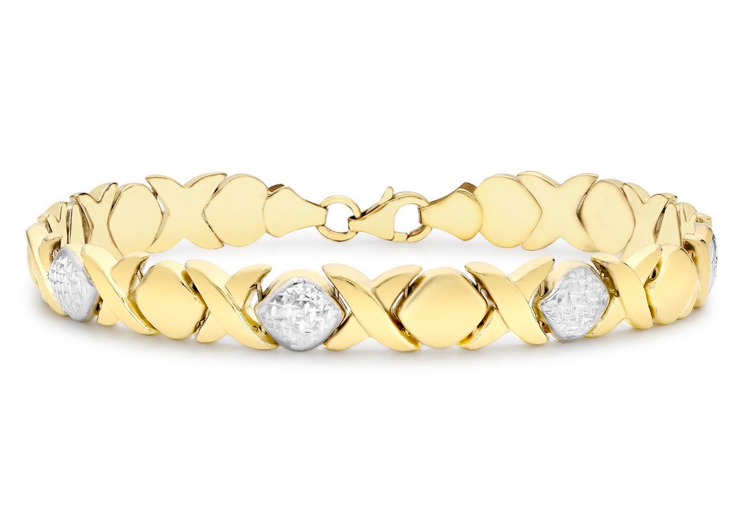 9ct 2-Colour Gold Diamond Cut Hugs and Kisses Link Bracelet 7.5