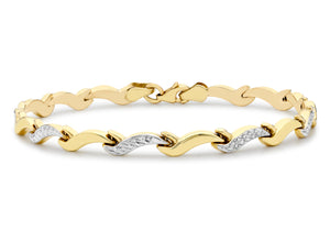 9ct 2-Colour Gold Diamond Cut Wave Link Bracelet 7.5""