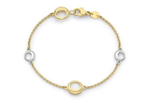 9ct 2-Colour Gold Lunar Rings Bracelet 19cm/7.5""