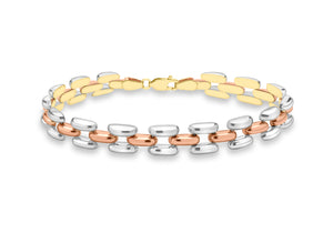 9ct 2-Colour Gold Open Brick Link Bracelet 19cm/7.5""