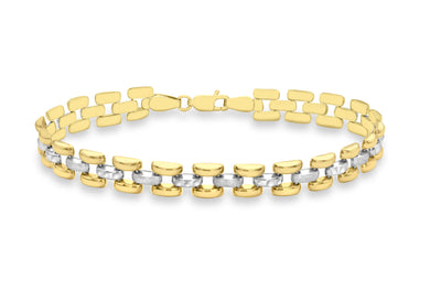 9ct 2-Colour Gold Diamond Cut And Satin Polished Brick Link Bracelet 20cm/8