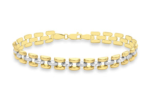 9ct 2-Colour Gold Diamond Cut And Satin Polished Brick Link Bracelet 20cm/8""