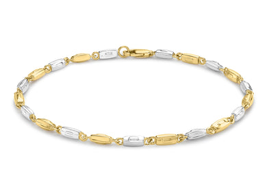 9ct 2-Colour Gold Rectangle Link Bracelet 20cm/8