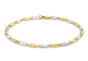 9ct 2-Colour Gold Rectangle Link Bracelet 20cm/8""