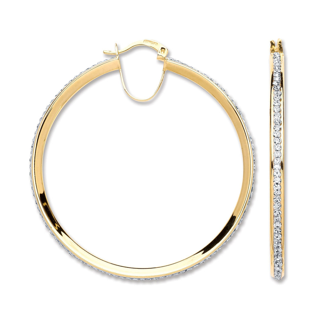 9ct Yellow Gold Round Crystal Hoop - Queen of Silver