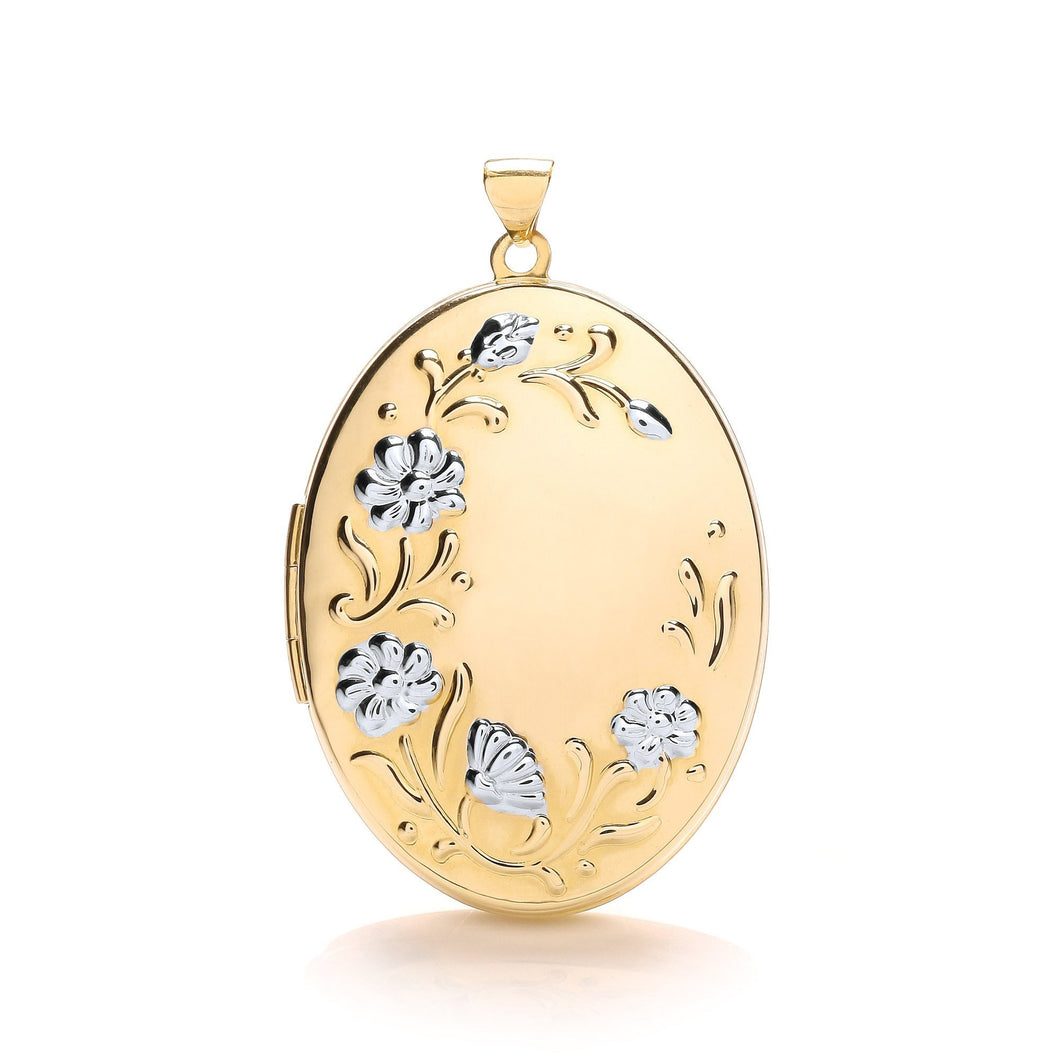 9ct White Yellow Oval Flower Design Locket Pendant - Queen of Silver