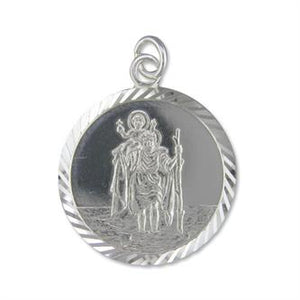 Sterling Silver Diamond Cut Round ST Christopher