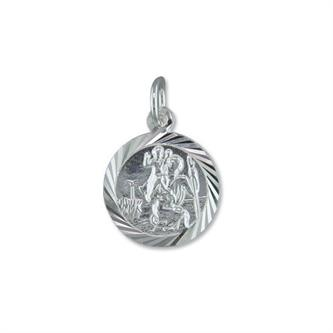 Sterling Silver Round Diamond-Cut ST Christopher