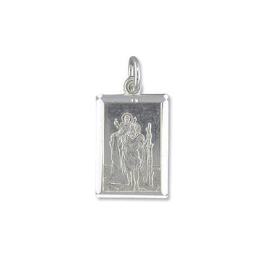 Sterling Silver Medium Diamond Cut Oblong ST Christopher