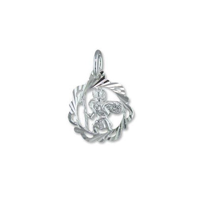 Sterling Silver Fancy Open Diamond Cut ST Christopher
