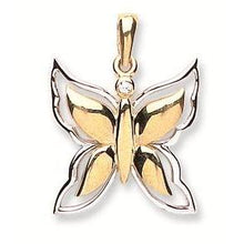 9ct Yellow & White Gold Butterfly Pendant - Queen of Silver