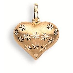 9ct Yellow Gold D/C Heart Pendant - Queen of Silver
