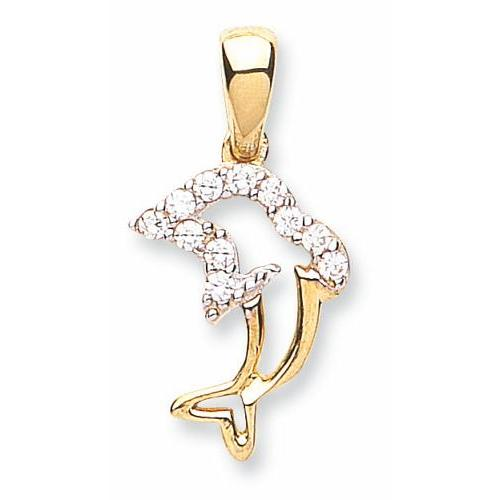 9ct Yellow Gold Cz Dolphin Pendant - Queen of Silver