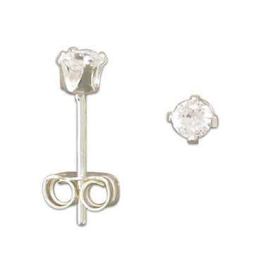 Sterling Silver Cubic Zirconia 3mm Stud Earring