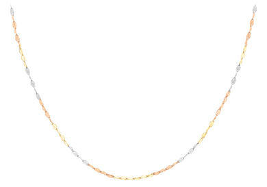 9ct 3-Colour Gold Twist Link Chain