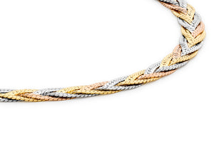 9ct 3-Colour Gold Triple Plait Diamond Cut Herringbone Bracelet 19cm/7.5""