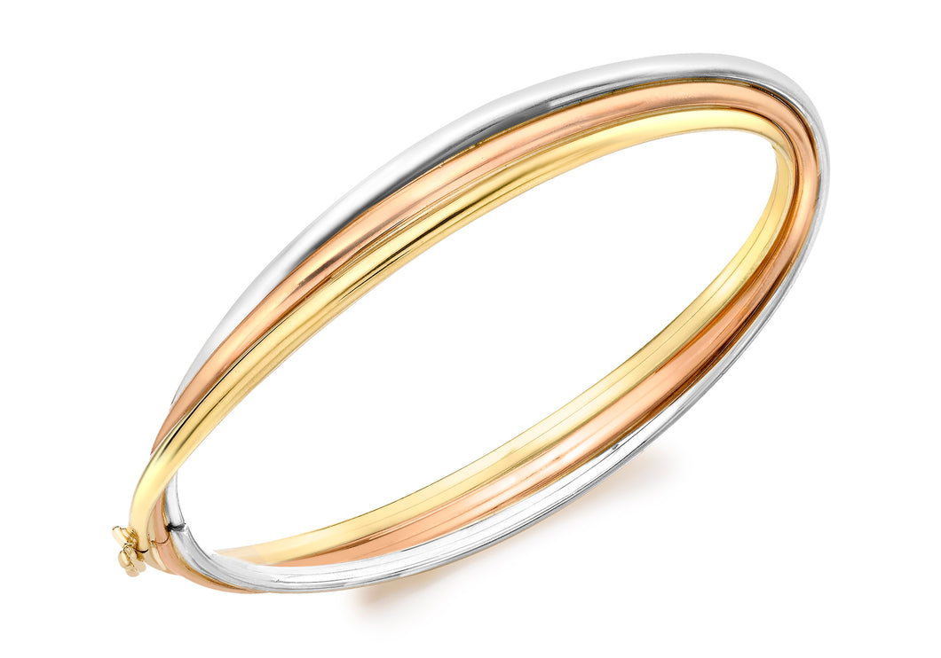 9ct 3-Colour Gold Russian Style Bangle