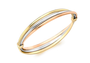 9ct 3-Colour Gold Russian Style Oval Bangle
