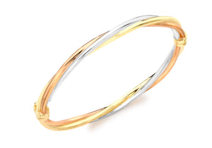 9ct 3-Colour Gold Twist Oval Bangle
