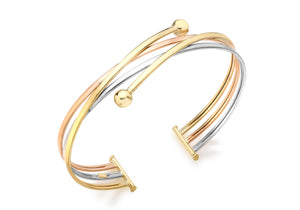 9ct 3-Colour Gold Crossover Ball Detail Bangle