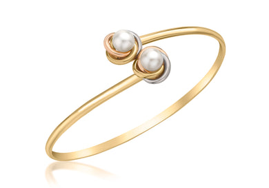 9ct 3-Colour Gold Double Knot and Pearl Flexible Torque Bangle