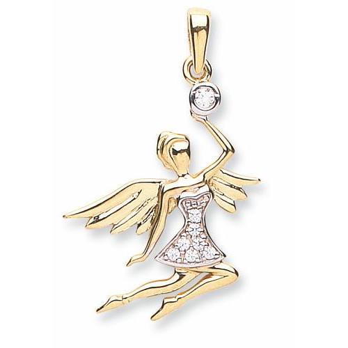 9ct Yellow Gold Cz Angel Pendant - Queen of Silver