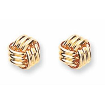 9ct Yellow Gold Fancy Knot Studs Earrings - Queen of Silver